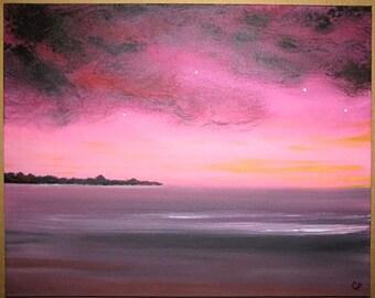 Jewel toned beach painting, serene pink sunset, tranquil beach, Beachcomber series/6 Original Painting 16x20