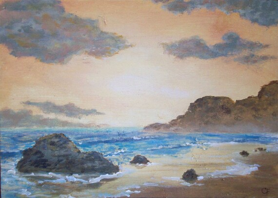 Serene Ocean Sunset Original small acrylic seascape painting