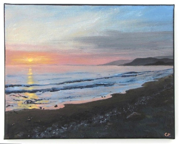 Realism Acrylic seascape painting 8x10- small El Capitan Beach California