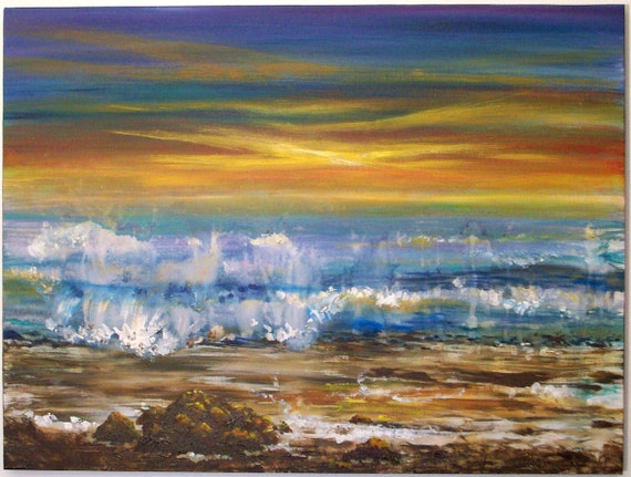 For Nadine only please-----Large Painting, Beachcomber series/7, Original Acrylic Painting 18x24