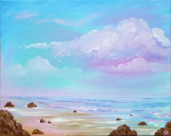 Ocean painting, surreal cloudscape with jewel tone colors LG 16x20