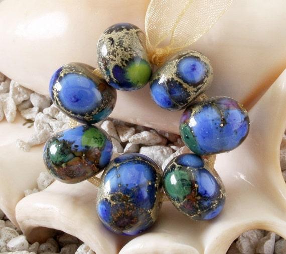Handmade Lampwork Bead Set (7) glass beads Silvered Organic Bluebonnets