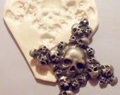 Large Goth / skull Cross polymer clay mold