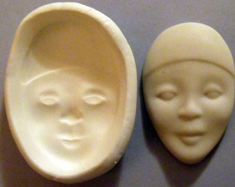 Lovely African lady doll face polymer clay mold