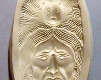 indian and bear polymer clay Mold Face Spirit Totem