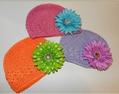 2 for 8 Dollars-LARGE-Crochet Beanie Hats with Choice of Daisy Clips-Mix Or Match