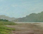 Original plein air beach landscape oil painting on wood panel.