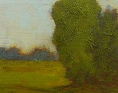 Original tonalist landscape oil painting on wood panel.