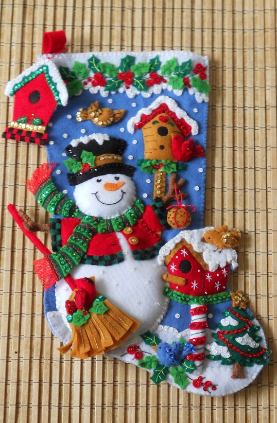 RESERVED for Brooklyn Completed Bucilla Christmas Stocking Snowman with Birds