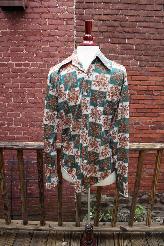 70's Mens Orange Floral Button Up - M