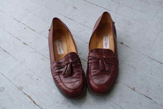 80's Etienne Aigner Burgundy Leather Loafers