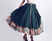 layered skirt charming green linen skirt  maxi skirt (0094)