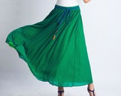 Green chiffon skirt woman maxi skirt long swing skirt  (126)
