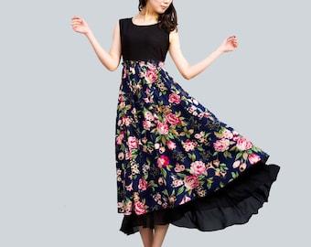 linen dress maxi dress floral print dress   (0023)