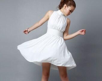 Mini dress women's white chiffon dress bridesmaid dress in summer  (0193)