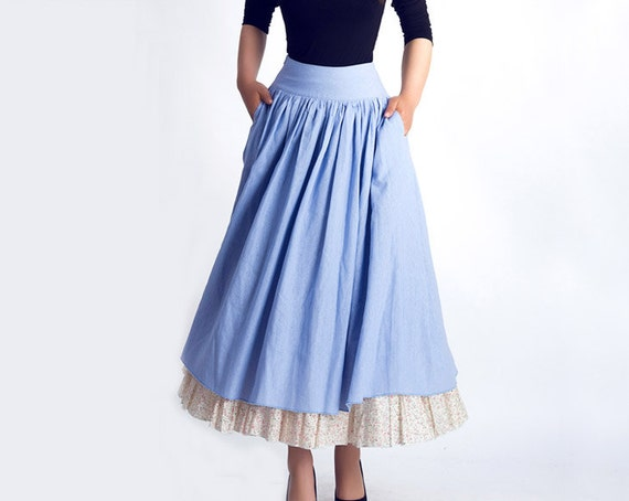 maxi skirt, powder blue skirt, retro skirt, linen skirt,pleated skirt, full skirt, circle skirt,spring skirts,skirts for women,long skirt 45
