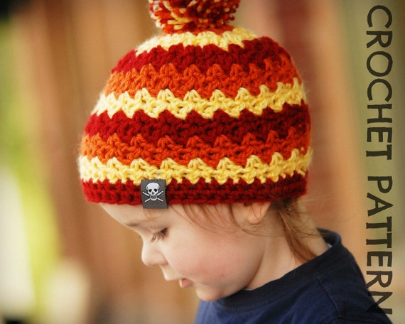 CROCHET HAT PATTERN Kids Ziggy Beanie by PlayinHookyDesigns