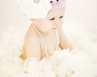 Pettiskirt Ivory Luxe with Flower-by Cheeky Chic Baby