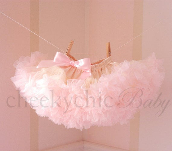 Luxe Pettiskirt by Cheeky Chic Baby - Buttercream Ivory with VINTAGE PINK ruffle