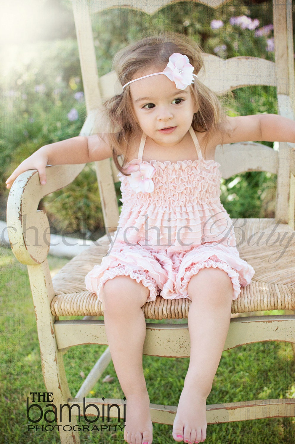 Vintage Ruffle Romper By Cheeky Chic Baby Pink By