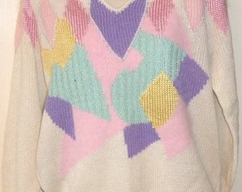 Vintage Ladies white dressy sweater With Tags CHRISTINE ornate party sweater Size M  Multi colored pastel design  & Rhinestones