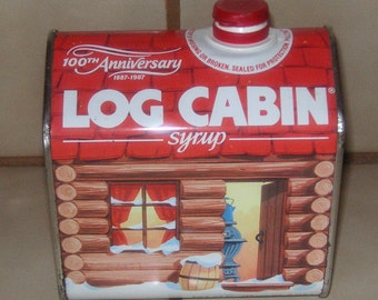 Log Cabin Syrup 100th anniversary tin 1887-1987 collectible tin