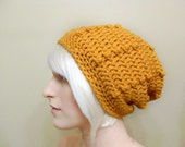 Crocheted Hipster Slouch Hat in Apricot - Ready To Ship