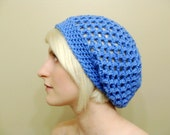 Crocheted Slouchy Hat in Sky Blue - Ready To Ship - End of Season Sale