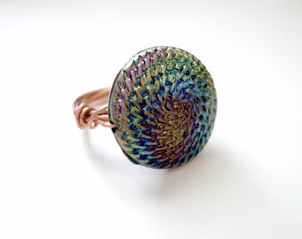 Rainbow Foil Wire Wrapped ring in Silver or Copper