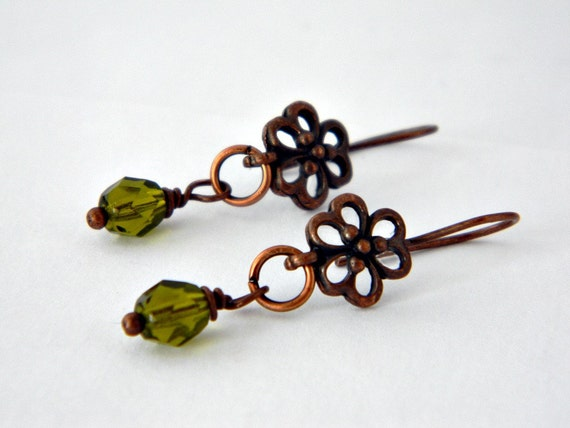 Copper daisy and green crystal earrings