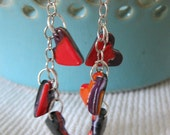 Tiny polymer clay heart drop earrings in black, red, orange, white, purple