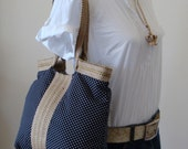 French TRES CHIC black hobo bag with burlap