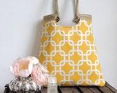 Yellow geometric & burlap tote bag
