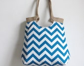 Water resistant Blue chevron carry on hobo bag with burlap