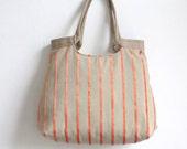 Orange striped weekender tapestry hobo bag with burlap