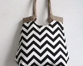 Black and white chevron carry on hobo bag with burlap