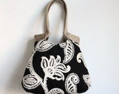 Paisley black and white tapestry hobo bag HIGH FASHION boho chic