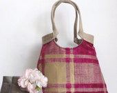 Pink plaid large carryall tapestry handbag with burlap Boho style