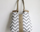 Handbag Shoulder Bag Grey chevron carry on hobo bag with burlap