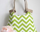 Chevron green & burlap  tote bag