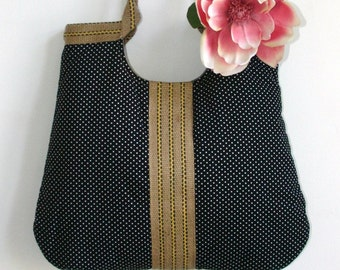 large black french dots tote bag