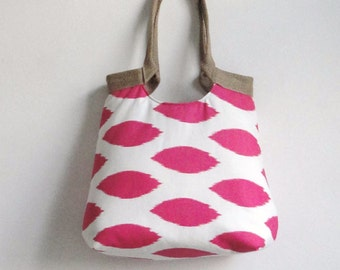 Pink ikat carry on handbag with burlap