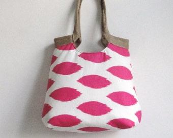 Pink ikat carry on handbag with burlap