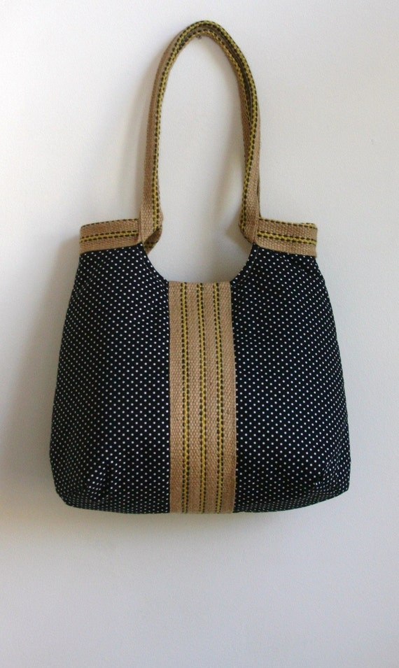 Polka dots French Tres chic black hobo bag with dots