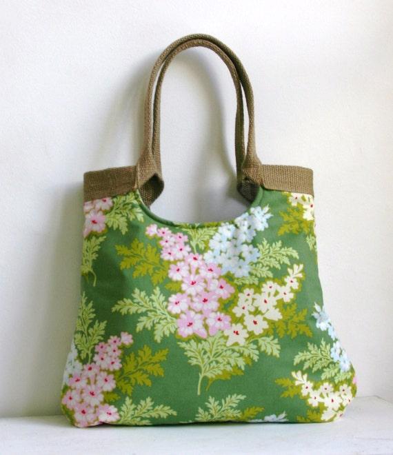 Burlap & Moss Green fabric  tote bag