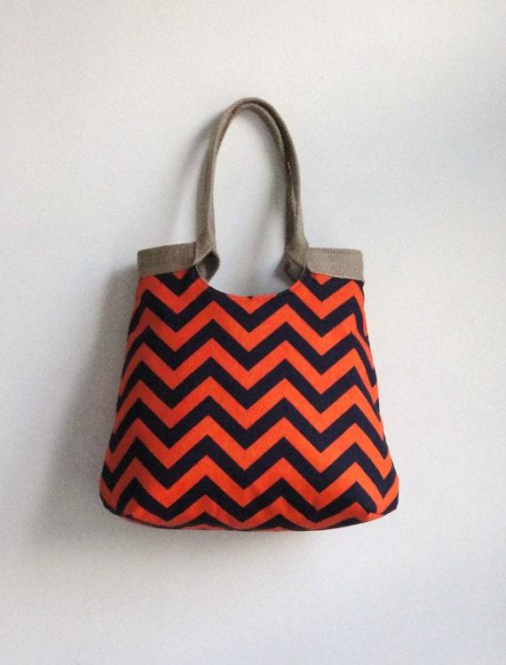 Orange navy blue chevron carry on hobo bag with burlap