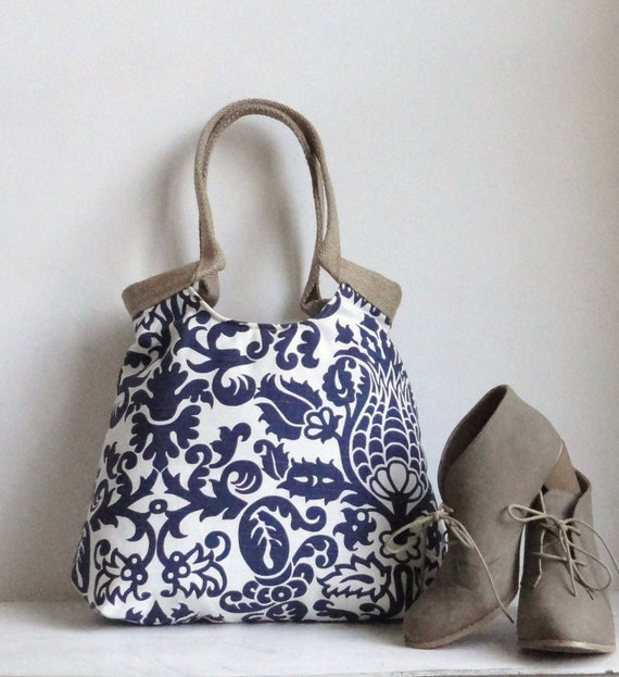 Amsterdam blue screen printed damask carry on hobo bag with burlap