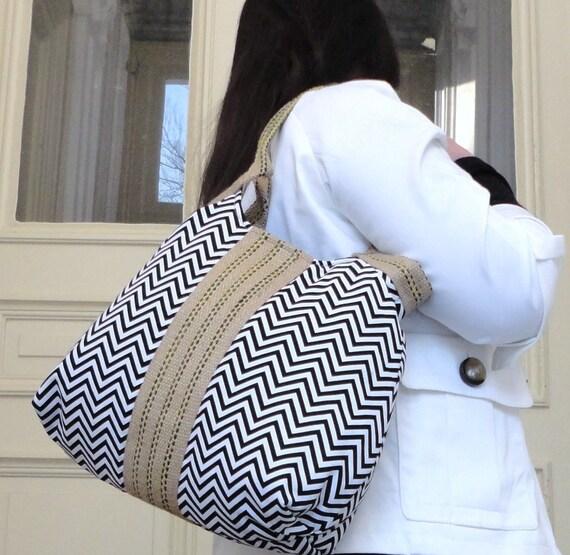 Everyday Bag Handbag Black white chevron jute Shoulder Bag