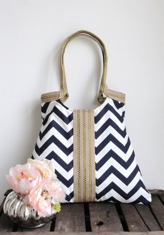 Shoulder Bag Purse Navy blue-white chevron tote bag with jute Winter Fashion