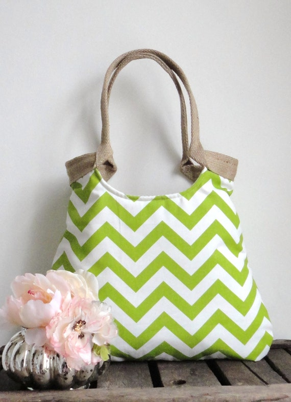 Chevron green & burlap  tote bag